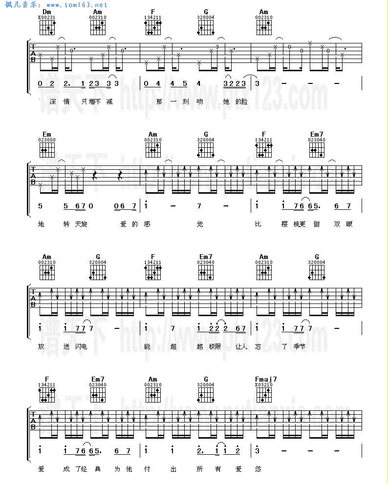 小乌龟(吉他谱 简谱 六线谱)—张栋梁