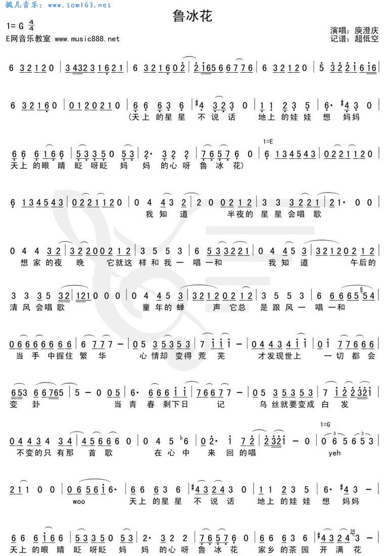 鲁冰花简谱歌谱-打印文章