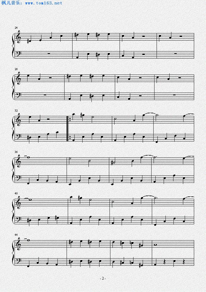 钢琴谱 >> 正文:植物大战僵尸主菜单背景音乐          点击放大乐谱