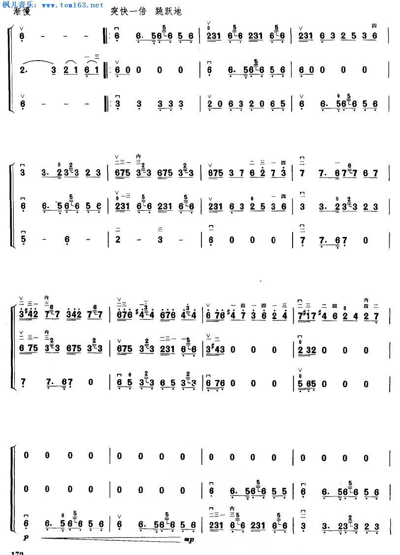 康巴情 二胡三重奏曲谱
