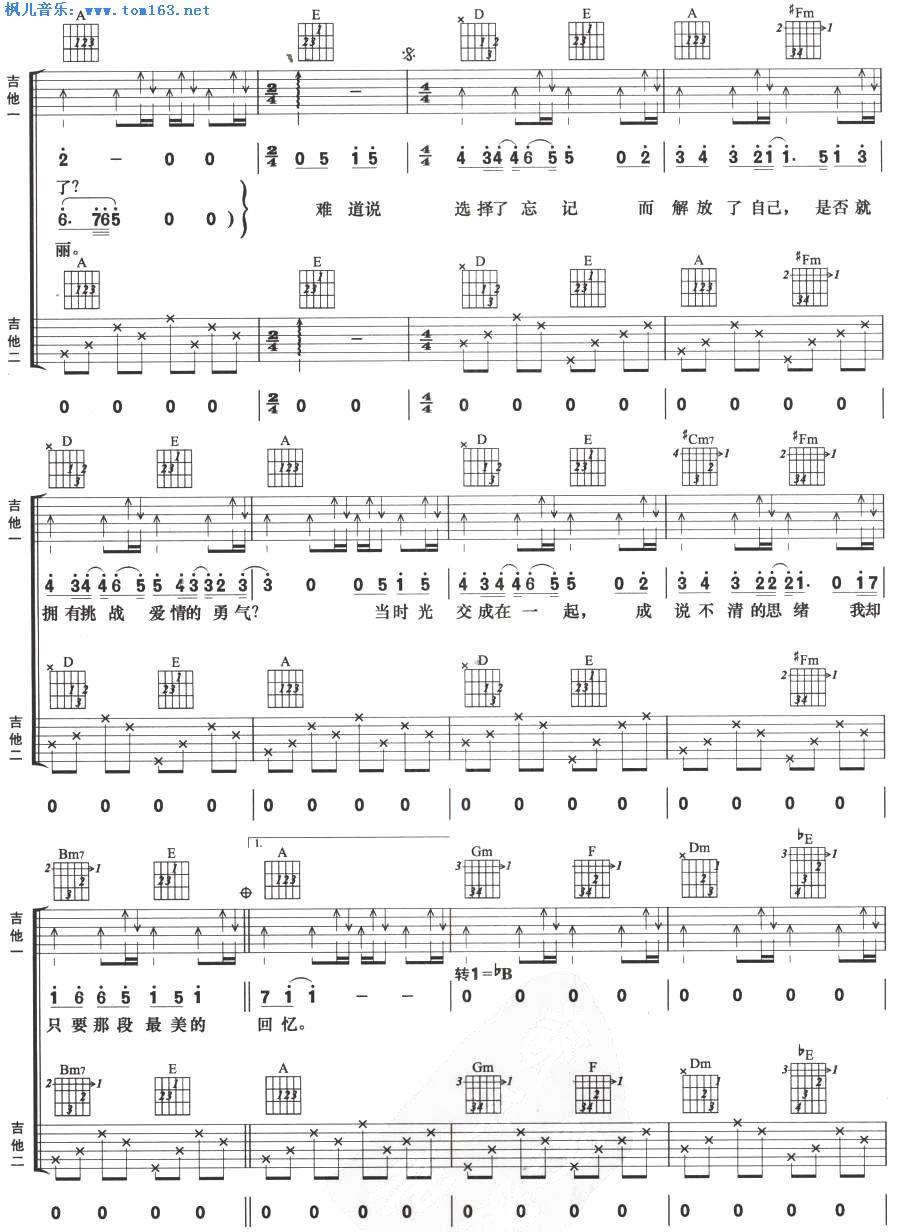 忘记 双吉他谱 六线谱—林俊杰