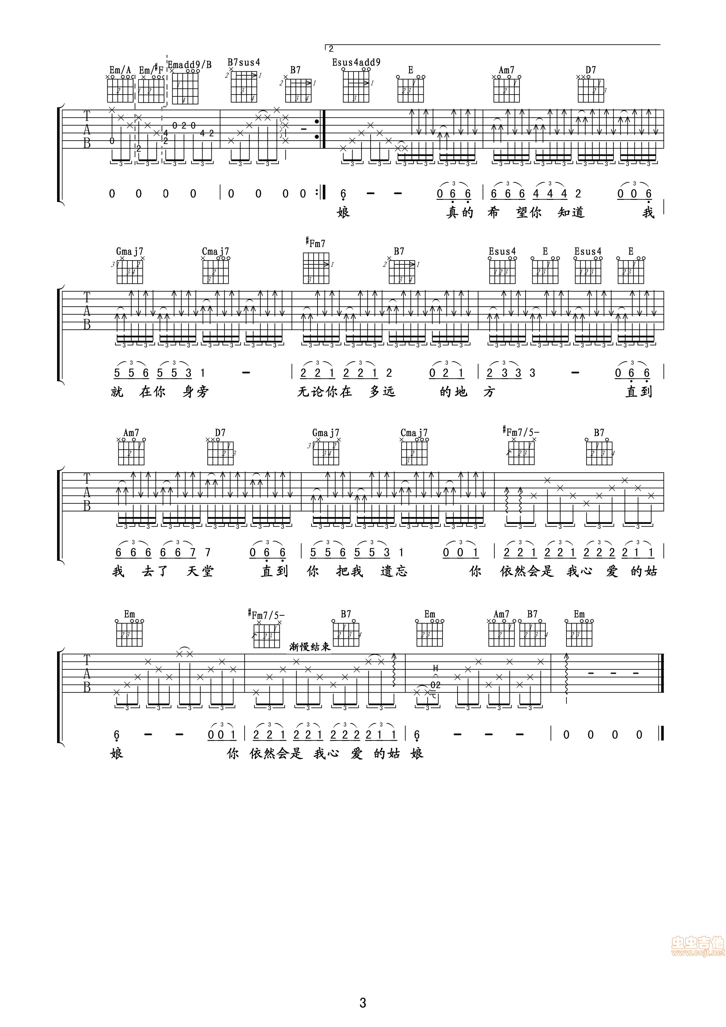 你是我心爱的姑娘 吉他谱 六线谱—汪峰