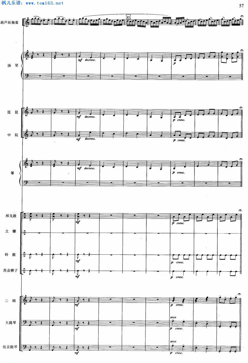 傣家小夜曲 器乐合奏谱