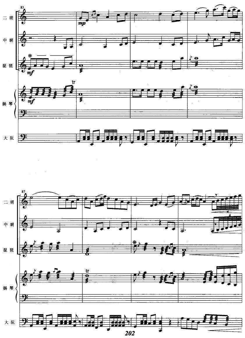 芭蕾舞白毛女窗花舞曲谱五重奏