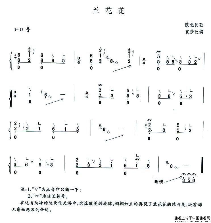 兰花花 古筝谱—袁莎改编版