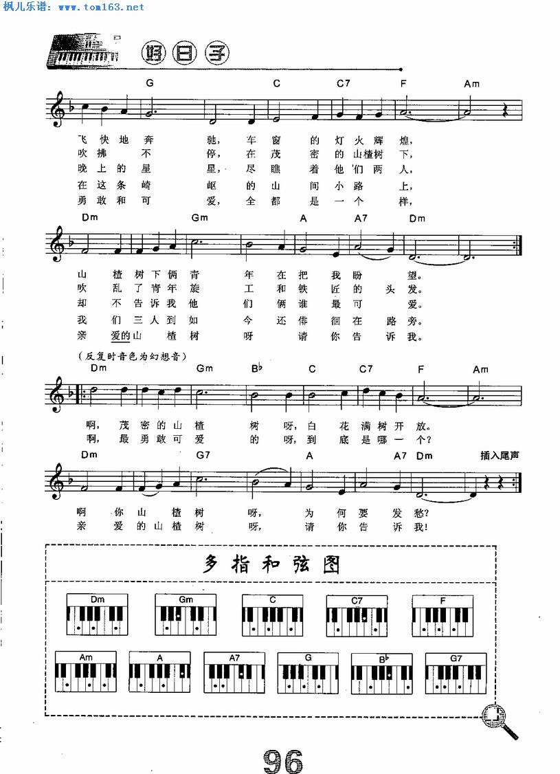 山楂树 电子琴谱