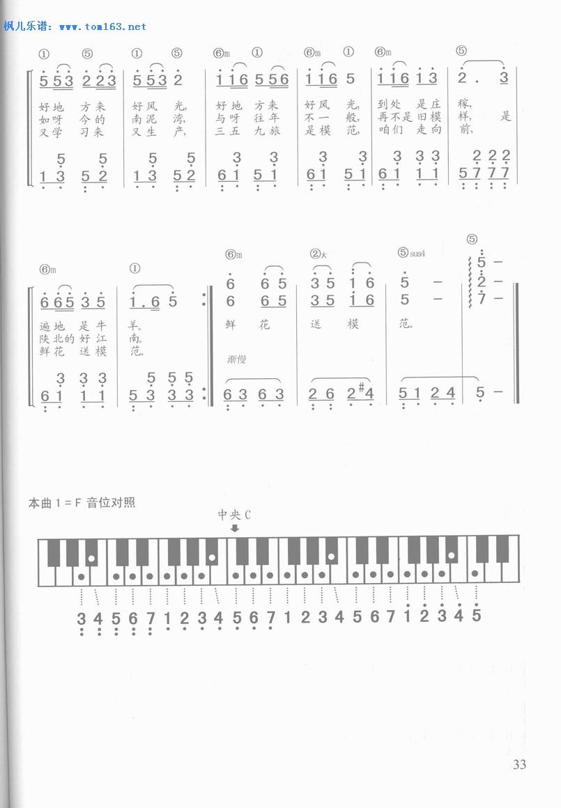 南泥湾 钢琴简谱