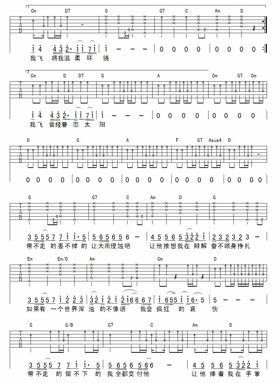 姚贝娜鱼谱子-陈绮贞 吉他弹唱 六线谱 鱼
