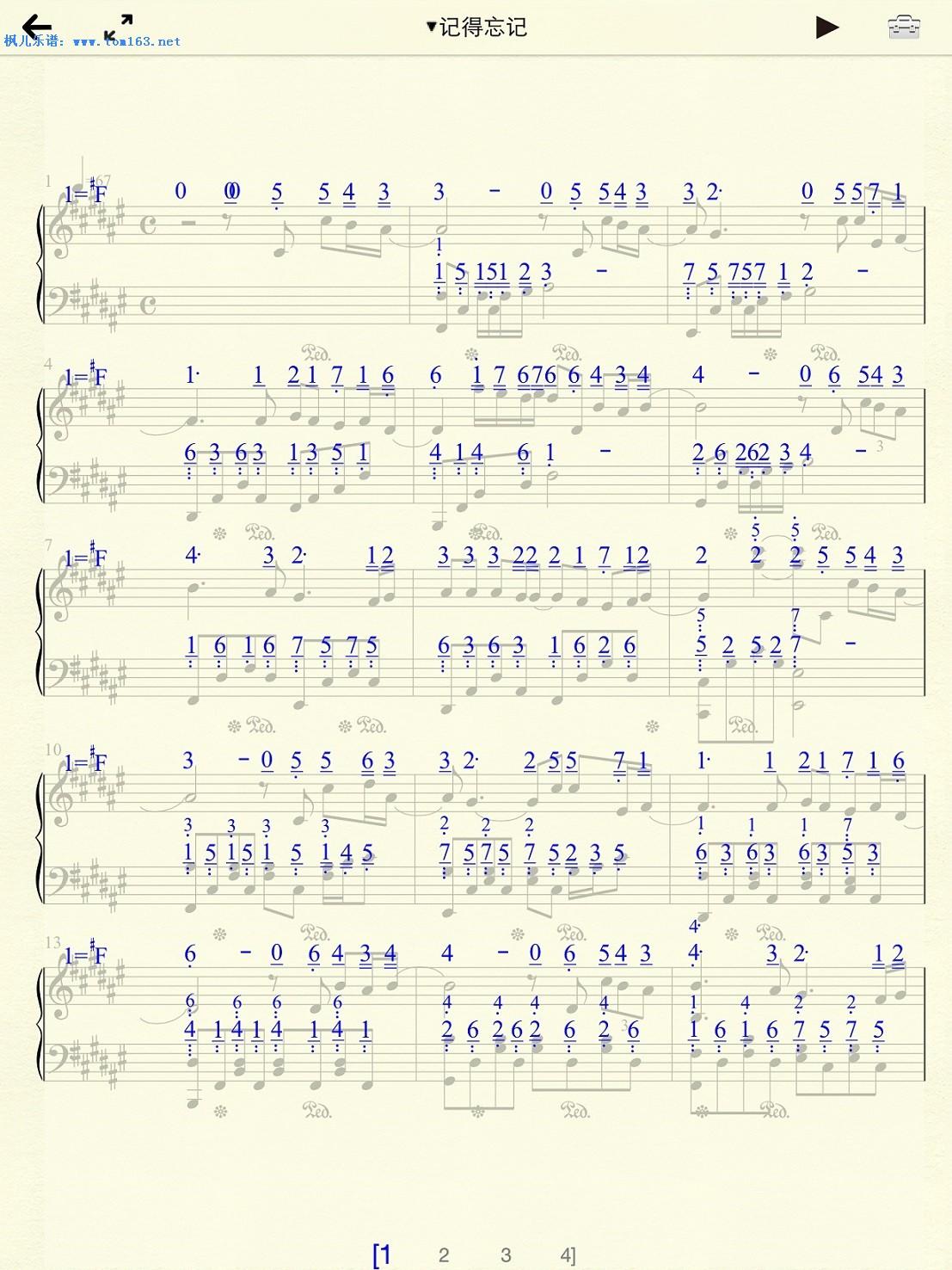 笑看风云钢琴曲谱数字-记得忘记 钢琴谱 五线谱 林峰