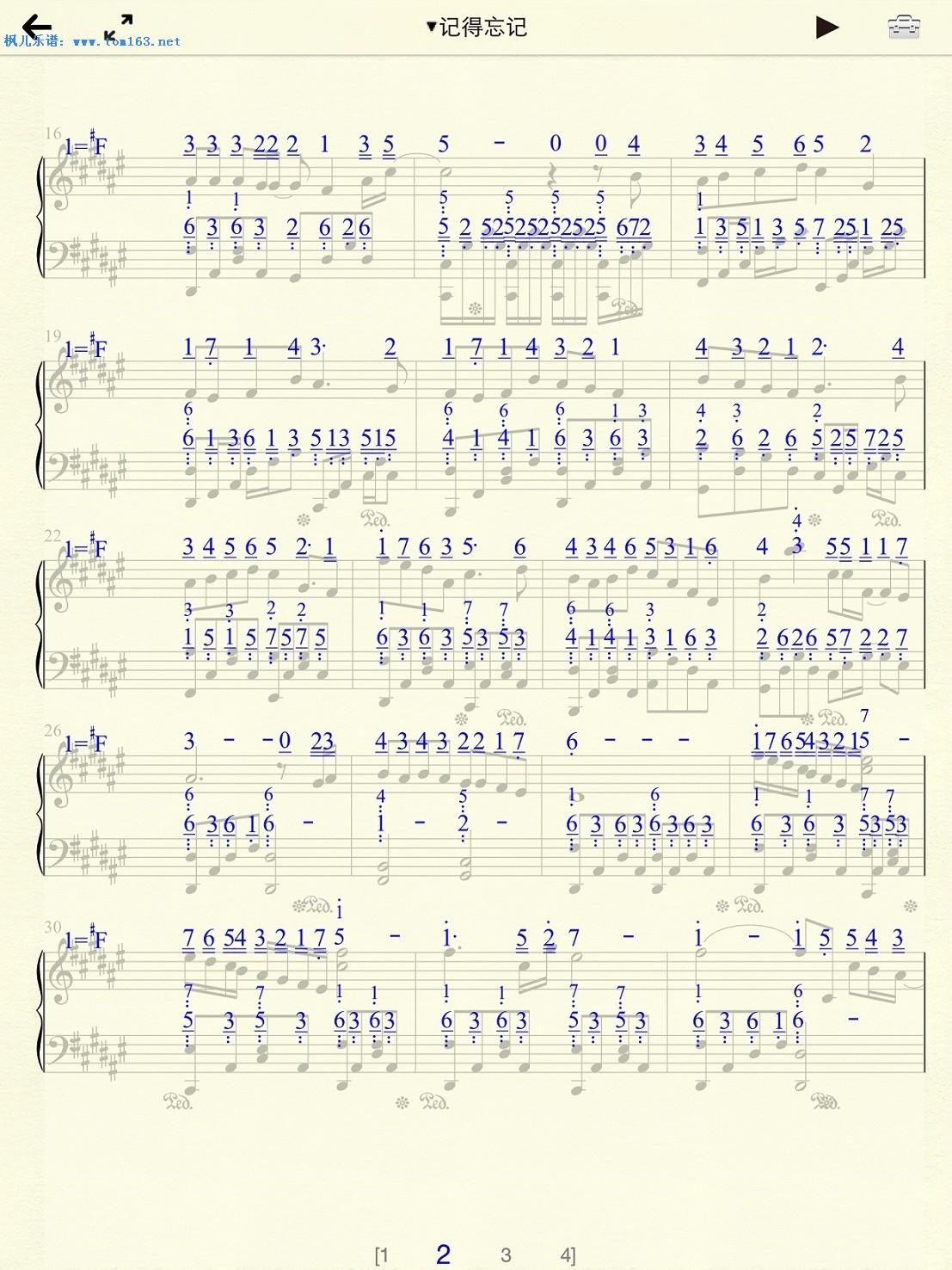 忘羡 谱子-记得忘记 钢琴谱 五线谱 林峰