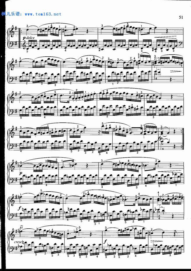 奏鸣曲 C大调 钢琴谱 五线谱 莫扎特