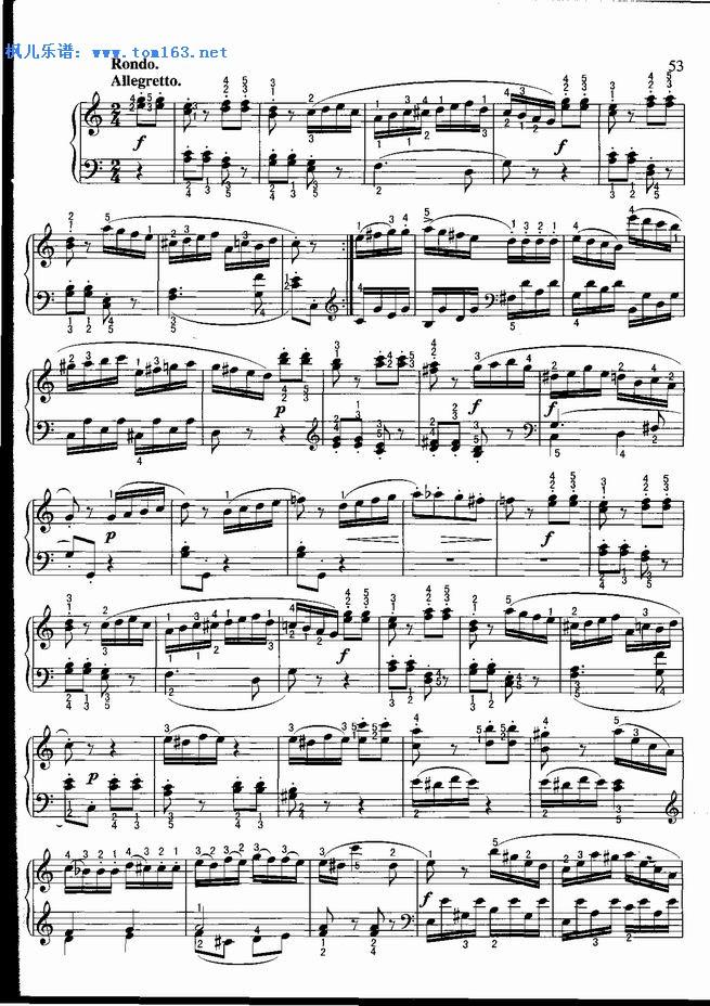 鸣曲 C大调 钢琴谱 五线谱 莫扎特