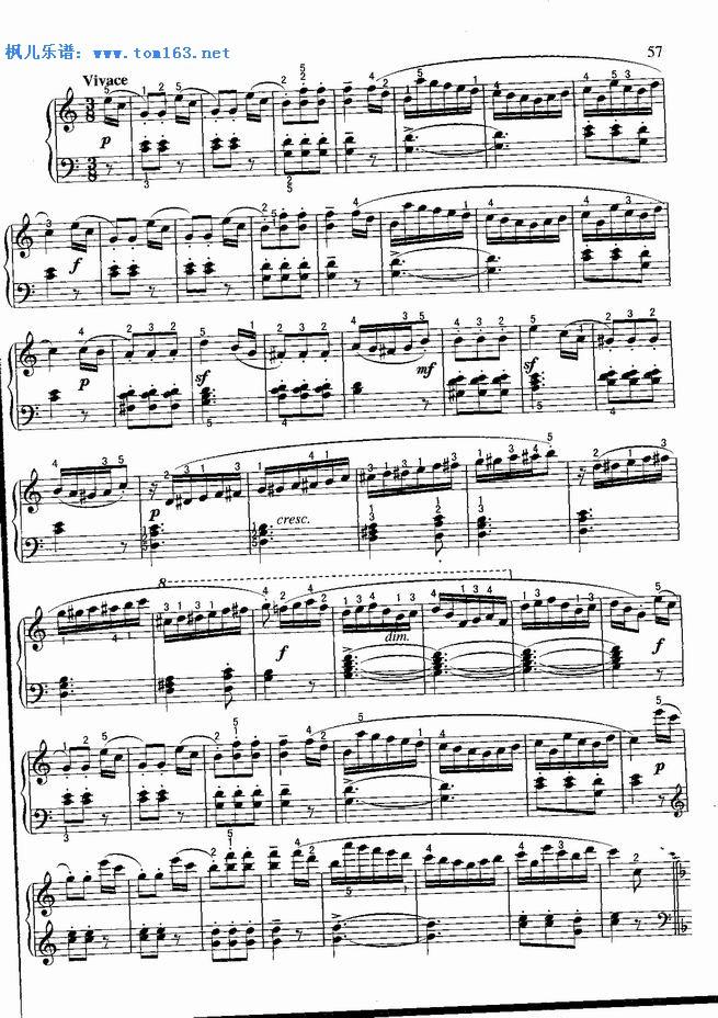 小奏鸣曲 钢琴谱 五线谱 库劳