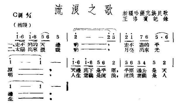 流浪之歌(新疆哈萨克族民歌)简谱 歌谱—王洛宾记录